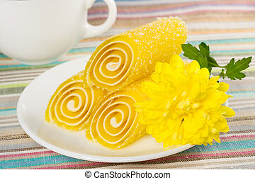 yellow Fruit Candy on a plate