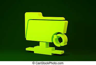 Yellow FTP sync refresh icon isolated on green background. Software update, transfer protocol, router, teamwork tool management, copy process. Minimalism concept. 3d illustration 3D render