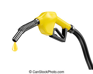 Yellow fuel pump nozzle with petrol drop oil. Bio fuel...