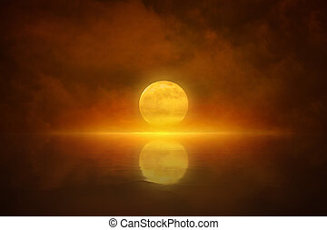 Yellow full moon rises in red glowing sky
