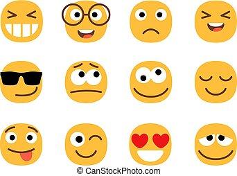 Yellow fun emoticons faces
