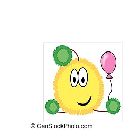 Yellow funny crank with balloon