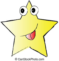 yellow funny star on white