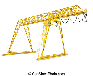Yellow gantry bridge crane, half-turn, isolated on white...