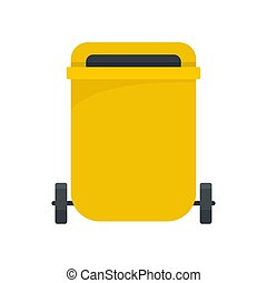 Yellow garbage can icon, flat style