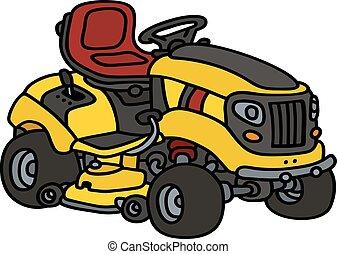 Yellow garden mower - Hand drawing of a yellow garden lawn ...