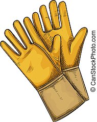 Yellow garden rubber gloves. Sketch style, vector illustration.