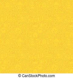 Yellow Garden Thin Line Spring Season Seamless Pattern