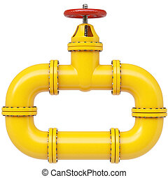 Yellow gas pipe. Fuel and energy industrial concept. 3d...