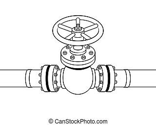 Yellow gas pipe with red valve coloring vector