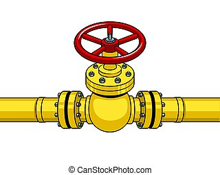 Yellow gas pipe with red valve pop art vector