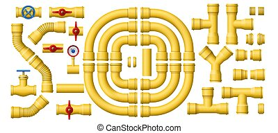 Yellow gas pipeline pipes. Metal pipe section, pipelines construction and industrial pipes kit vector set