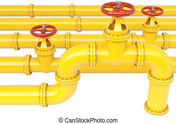 pipes - yellow gas pipes. Isolated on white.