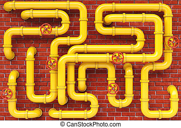 pipes - yellow gas pipes on a brick wall.
