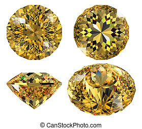 yellow gem isolated - yellow jewel diamond cut isolated