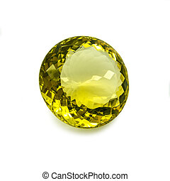 Yellow gem - Round shape yellow gem on a white background.