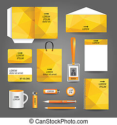 Yellow geometric technology business stationery template for...
