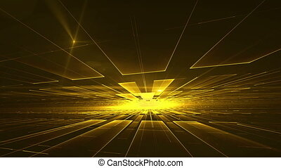 Yellow Geometrical Horizon with Burst of Light - Yellow...