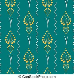 Yellow geometrical ornament from circles with blue waves on a green background