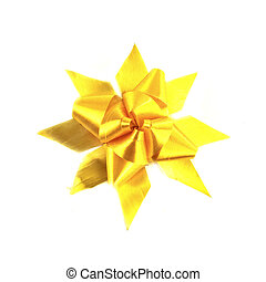 yellow gift bow isolated on white background