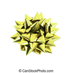 Yellow Gift Bow Isolated on White
