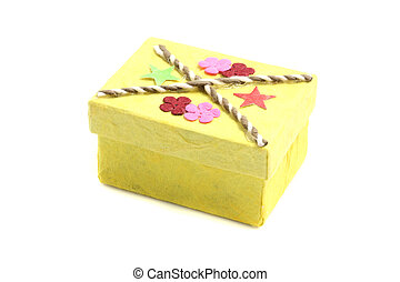 Yellow Gift box isolated in white background