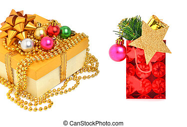 Yellow gift box with christmas baubles and beads