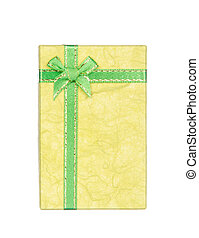 Yellow gift box with ribbon and bow isolated on white