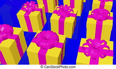 Yellow Gift boxes on a blue
