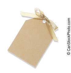 A yellow blank gift tag tied with yellow ribbon on white background. (Clipping Path included)