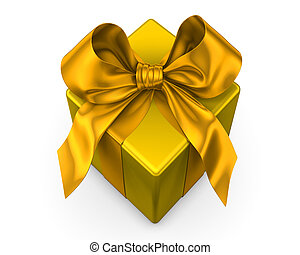yellow gift with yellow ribbon on white background