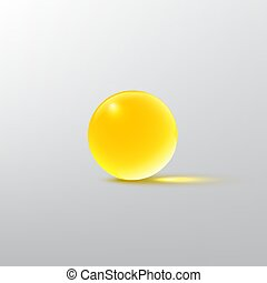 Yellow glass ball isolated on grey. Vector realistic design element.