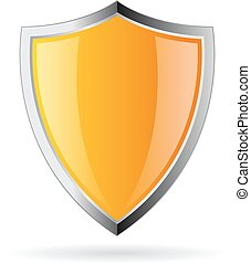 Yellow glass shield icon isolated on white background