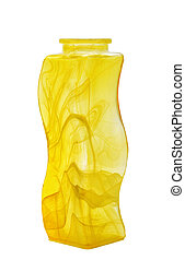 yellow glass vase isolated on white background