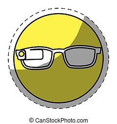 Yellow glasses button signal icon