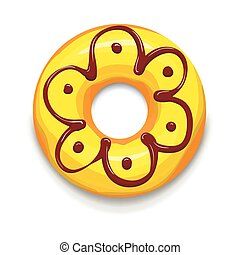 Yellow glazed donut icon, cartoon style