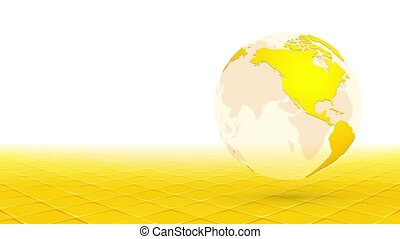 yellow globe planet earth rotating on perspective background