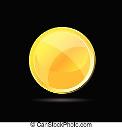 yellow glossy button on black vector illustration