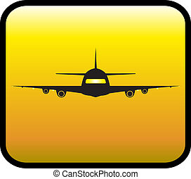 glossy icon with plane