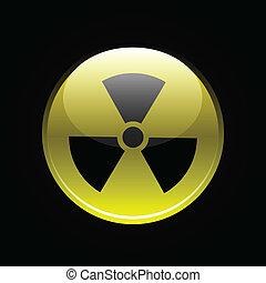 Yellow glossy radiation button