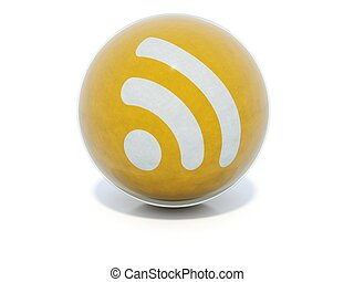 Yellow glossy RSS icon in glass ball