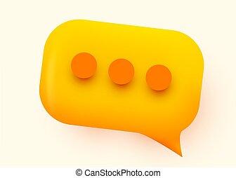Yellow glossy speech bubble illustration. Social network communication concept.