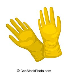 Yellow gloves. Vector illustration on a white background.