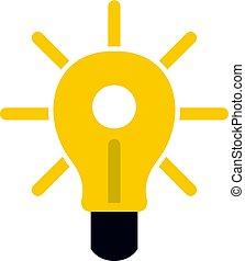 Yellow glowing light bulb icon isolated
