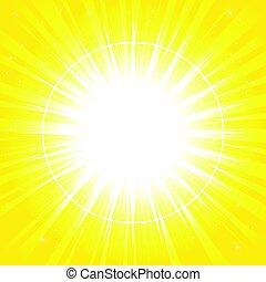 Yellow glowing light burst explosion,