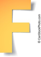 yellow-gold letter F carved from paper with soft shadow.Vector origami