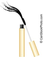 Yellow gold mascara tube with brush - Beauty products yellow...