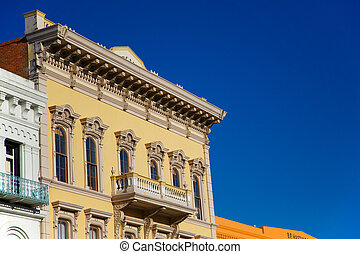 Gold Rush building - Yellow Gold Rush building in Old town ...