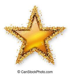 Yellow Gold Topaz Coloured Gemstone Star with Golden Starlet...