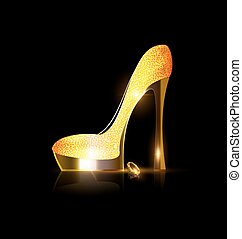 yellow golden shoe - dark background and the ladys golden...